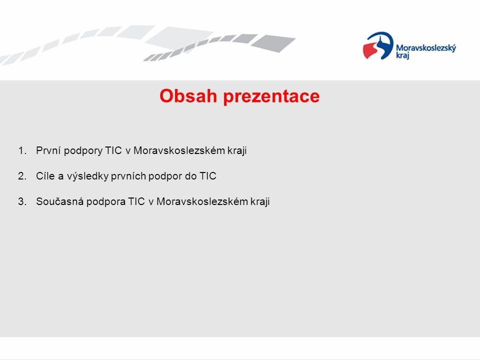 Obsah prezentace 1.První podpory TIC v Moravskoslezském kraji 2.Cíle a výsledky prvních podpor do TIC 3.Současná podpora TIC v Moravskoslezském kraji