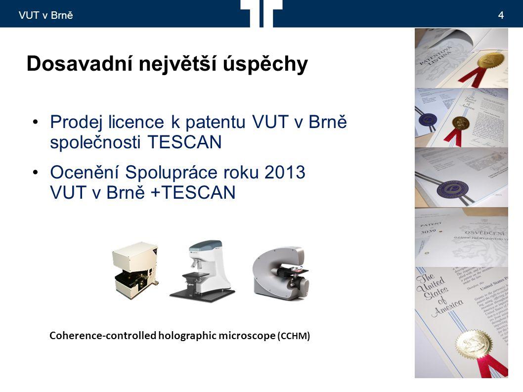VUT v Brně4 Dosavadní největší úspěchy Prodej licence k patentu VUT v Brně společnosti TESCAN Ocenění Spolupráce roku 2013 VUT v Brně +TESCAN Coherence-controlled holographic microscope (CCHM)