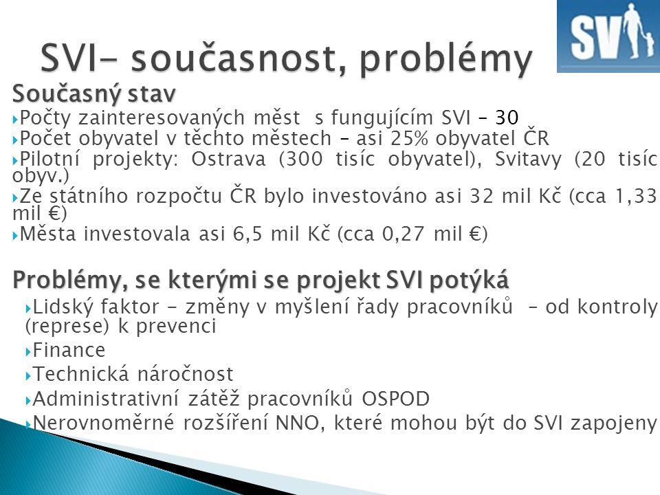 Současný stav  Počty zainteresovaných měst s fungujícím SVI – 30  Počet obyvatel v těchto městech – asi 25% obyvatel ČR  Pilotní projekty: Ostrava (300 tisíc obyvatel), Svitavy (20 tisíc obyv.)  Ze státního rozpočtu ČR bylo investováno asi 32 mil Kč (cca 1,33 mil €)  Města investovala asi 6,5 mil Kč (cca 0,27 mil €) Problémy, se kterými se projekt SVI potýká  Lidský faktor - změny v myšlení řady pracovníků – od kontroly (represe) k prevenci  Finance  Technická náročnost  Administrativní zátěž pracovníků OSPOD  Nerovnoměrné rozšíření NNO, které mohou být do SVI zapojeny