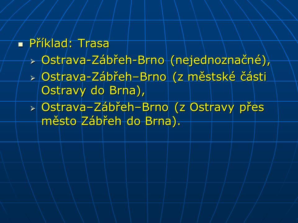 Příklad: Trasa Příklad: Trasa  Ostrava-Zábřeh-Brno (nejednoznačné),  Ostrava-Zábřeh–Brno (z městské části Ostravy do Brna),  Ostrava–Zábřeh–Brno (z Ostravy přes město Zábřeh do Brna).