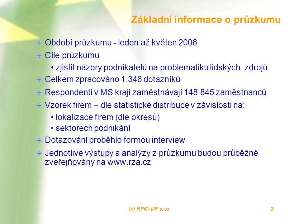 (c) RPIC-ViP s.r.o. 2 Základní informace o průzkumu Období průzkumu - leden až květen 2006 Cíle průzkumu zjistit názory podnikatelů na problematiku li