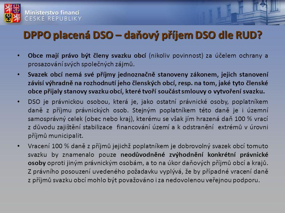 DPPO placená DSO – daňový příjem DSO dle RUD? Obce mají právo být členy svazku obcí (nikoliv povinnost) za účelem ochrany a prosazování svých společný