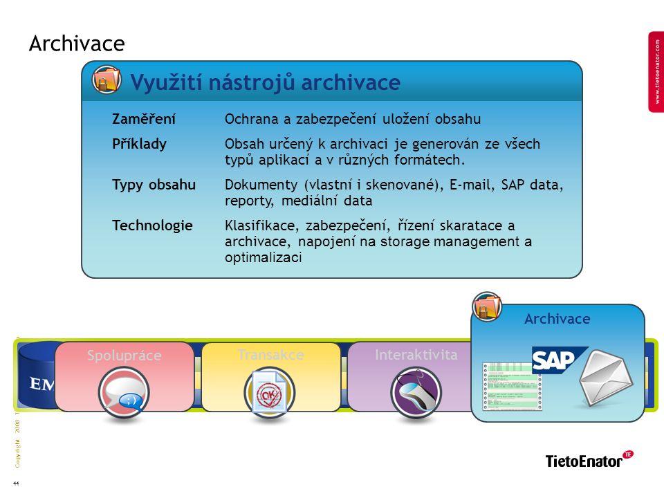 Copyright 2008 TietoEnator Corporation 44 Interaktivita Archivace Transakce Spolupráce Zaměření Ochrana a zabezpečení uložení obsahu Příklady Obsah určený k archivaci je generován ze všech typů aplikací a v různých formátech.