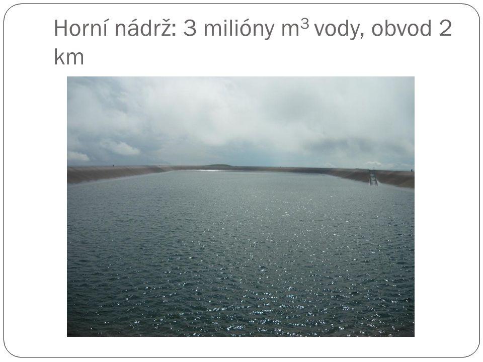 Horní nádrž: 3 milióny m 3 vody, obvod 2 km