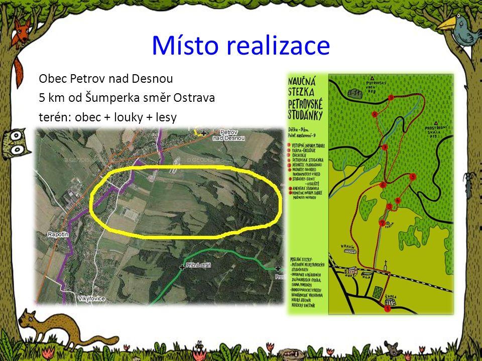 Obec Petrov nad Desnou 5 km od Šumperka směr Ostrava terén: obec + louky + lesy Místo realizace