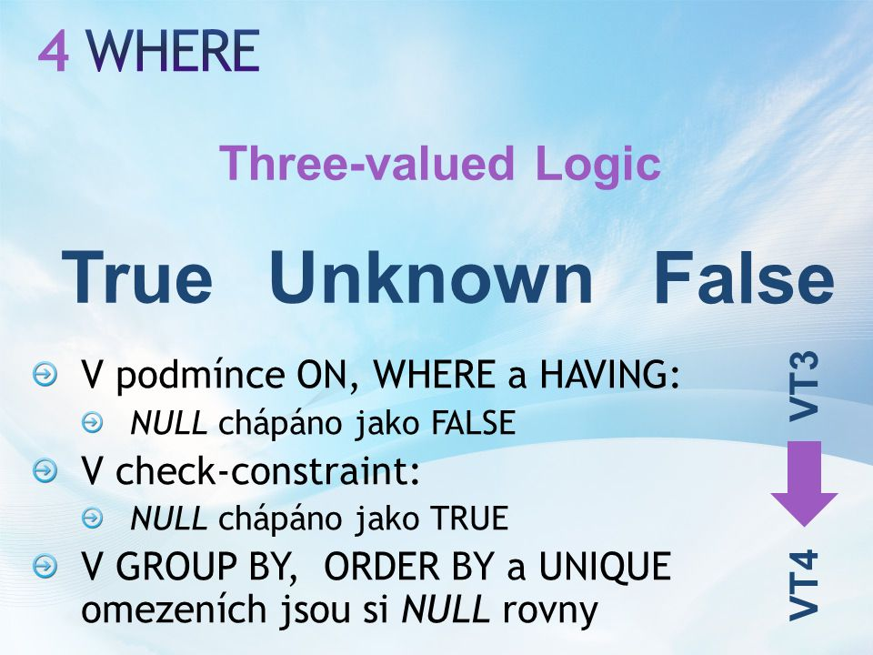 V podmínce ON, WHERE a HAVING: NULL chápáno jako FALSE V check-constraint: NULL chápáno jako TRUE V GROUP BY, ORDER BY a UNIQUE omezeních jsou si NULL rovny Three-valued Logic True False Unknown VT3 VT4