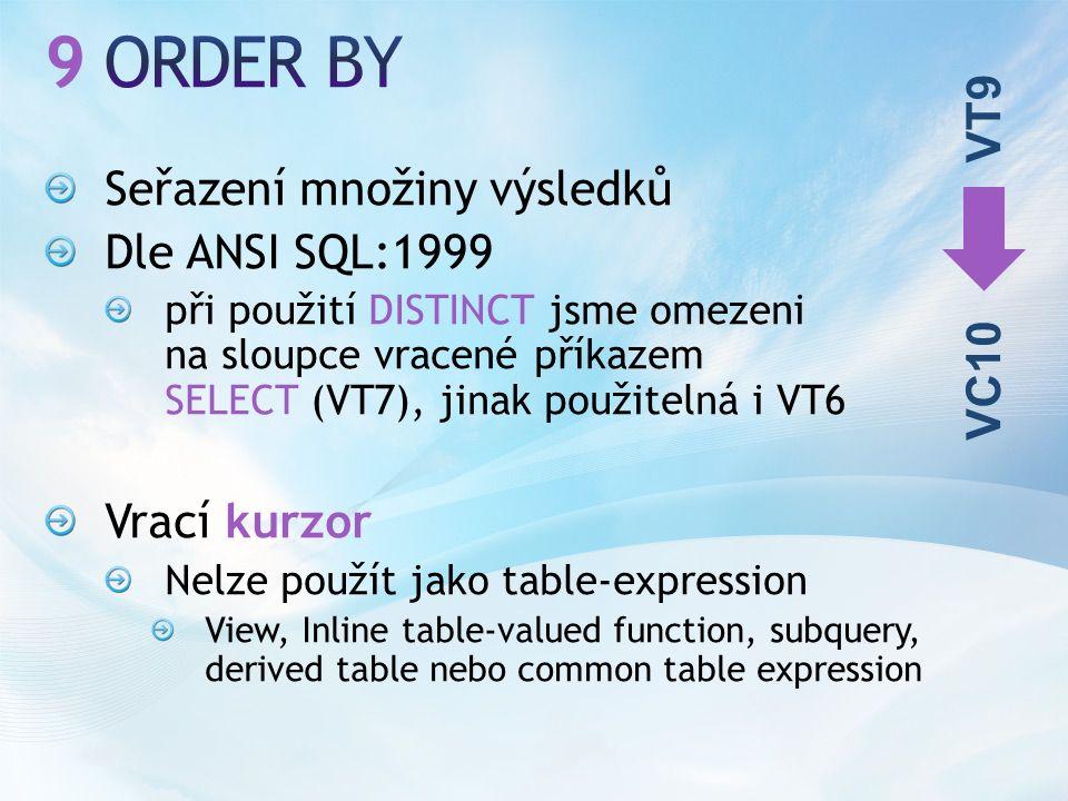 Seřazení množiny výsledků Dle ANSI SQL:1999 při použití DISTINCT jsme omezeni na sloupce vracené příkazem SELECT (VT7), jinak použitelná i VT6 Vrací kurzor Nelze použít jako table-expression View, Inline table-valued function, subquery, derived table nebo common table expression VT9 VC10
