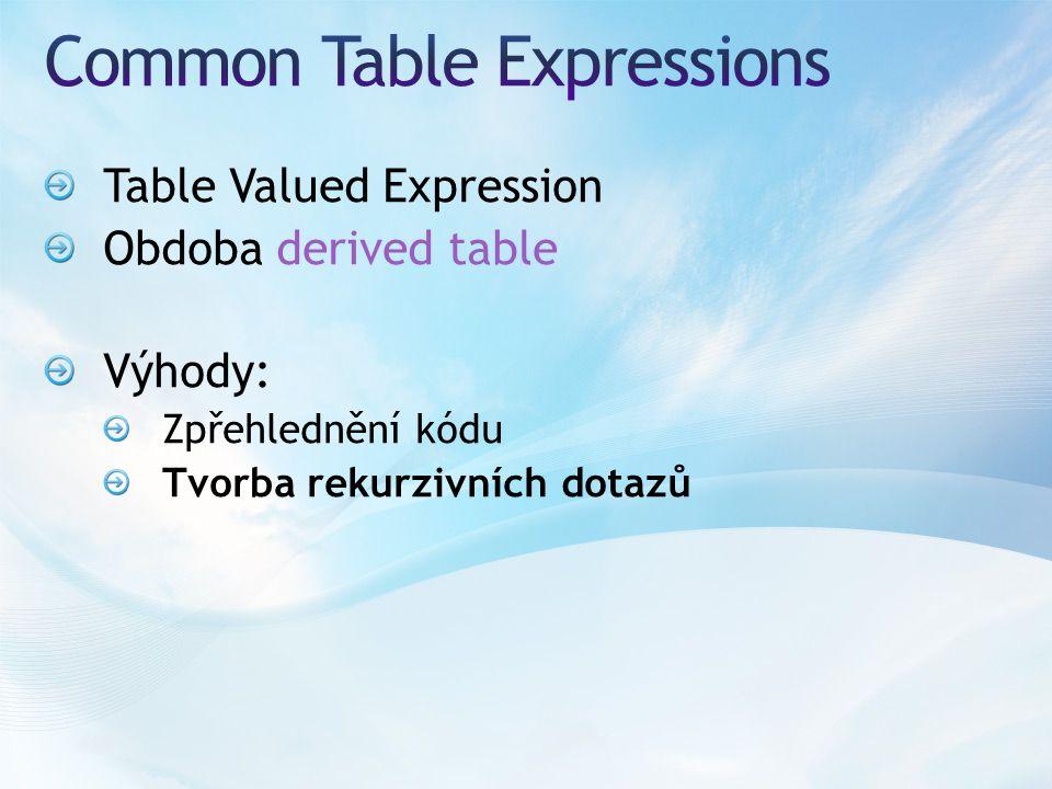 Table Valued Expression Obdoba derived table Výhody: Zpřehlednění kódu Tvorba rekurzivních dotazů