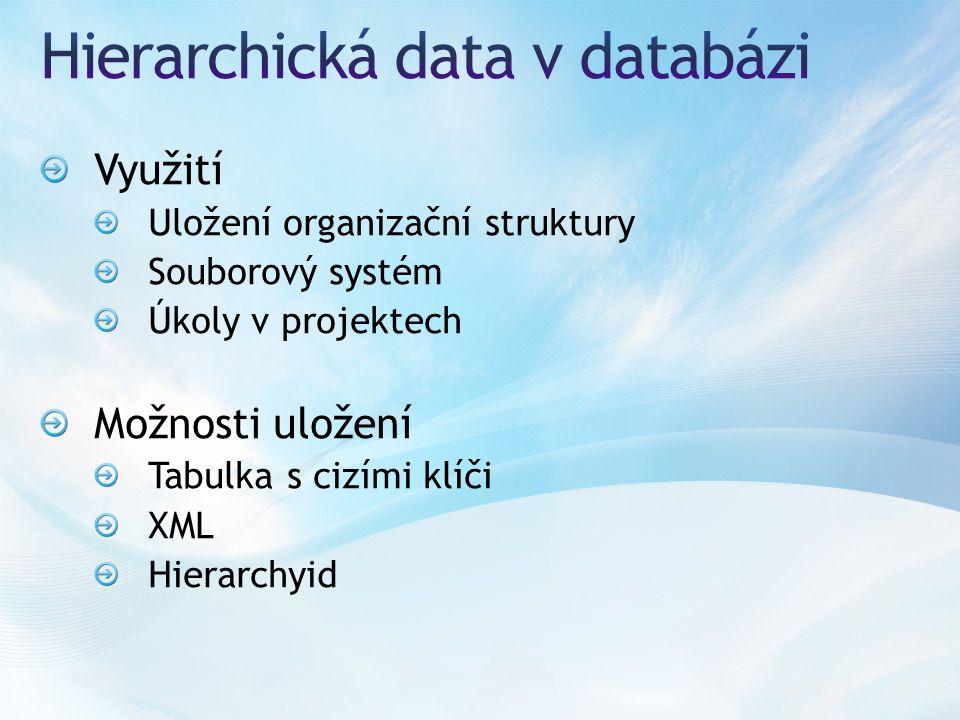 Využití Uložení organizační struktury Souborový systém Úkoly v projektech Možnosti uložení Tabulka s cizími klíči XML Hierarchyid