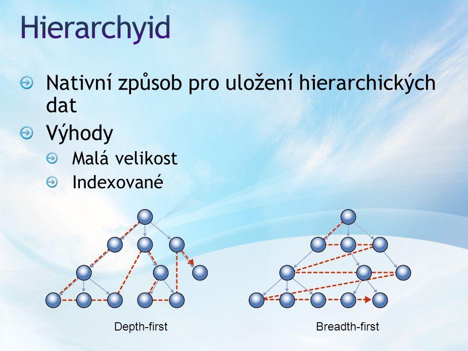 Nativní způsob pro uložení hierarchických dat Výhody Malá velikost Indexované Depth-firstBreadth-first