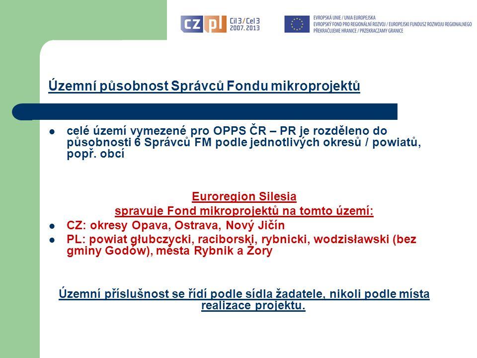 Územní působnost Správců Fondu mikroprojektů celé území vymezené pro OPPS ČR – PR je rozděleno do působnosti 6 Správců FM podle jednotlivých okresů / powiatů, popř.