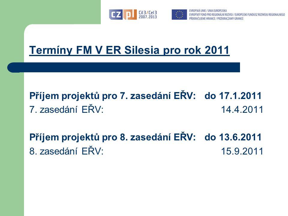 Termíny FM V ER Silesia pro rok 2011 Příjem projektů pro 7.