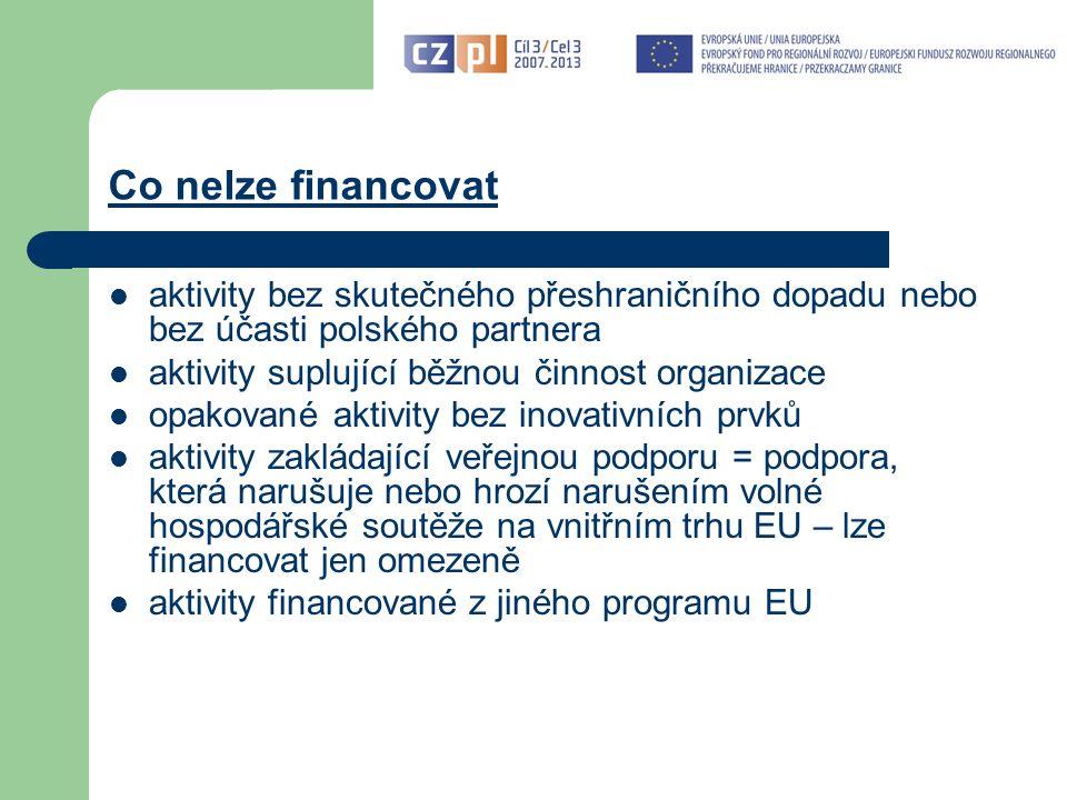 Co nelze financovat aktivity bez skutečného přeshraničního dopadu nebo bez účasti polského partnera aktivity suplující běžnou činnost organizace opakované aktivity bez inovativních prvků aktivity zakládající veřejnou podporu = podpora, která narušuje nebo hrozí narušením volné hospodářské soutěže na vnitřním trhu EU – lze financovat jen omezeně aktivity financované z jiného programu EU