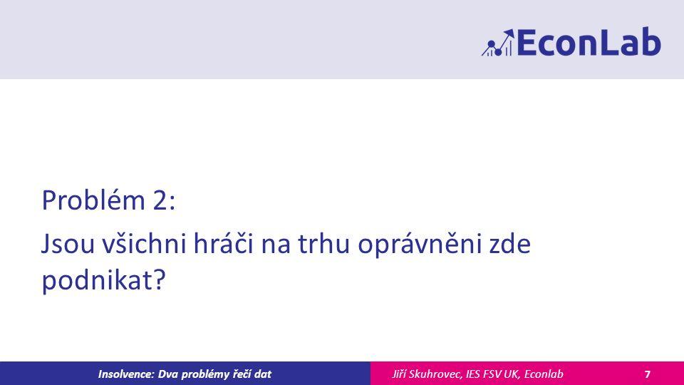 Jiří Skuhrovec, IES FSV UK, EconlabInsolvence: Dva problémy řečí dat Problém 2: Jsou všichni hráči na trhu oprávněni zde podnikat.