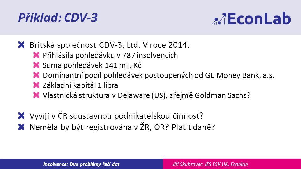 Jiří Skuhrovec, IES FSV UK, EconlabInsolvence: Dva problémy řečí dat Příklad: CDV-3 Britská společnost CDV-3, Ltd.