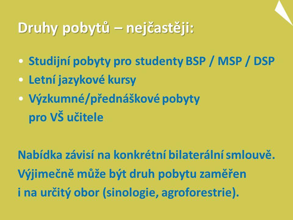 Druhy pobytů – nejčastěji: Studijní pobyty pro studenty BSP / MSP / DSP Letní jazykové kursy Výzkumné/přednáškové pobyty pro VŠ učitele Nabídka závisí na konkrétní bilaterální smlouvě.