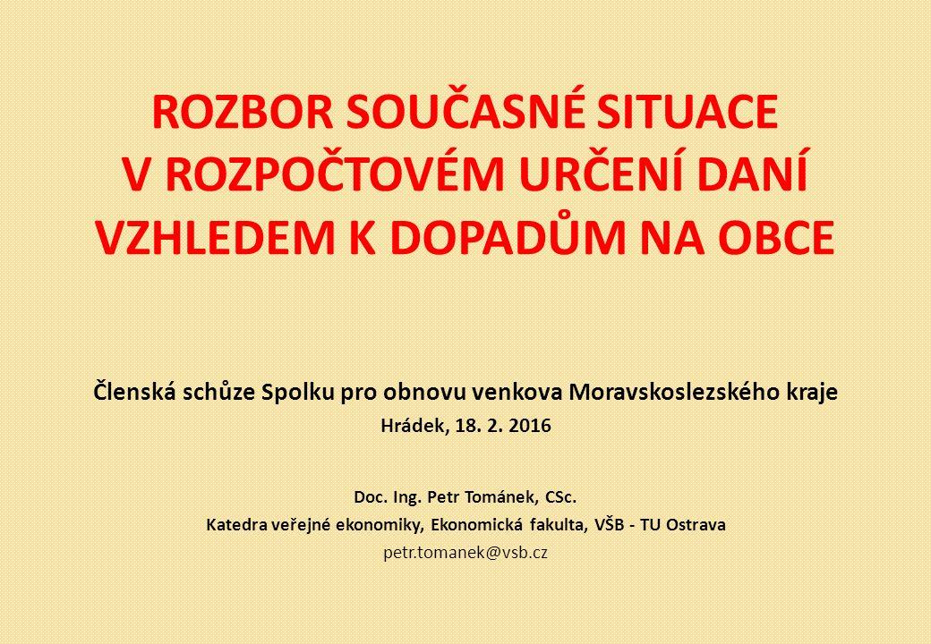ROZBOR SOUČASNÉ SITUACE V ROZPOČTOVÉM URČENÍ DANÍ VZHLEDEM K DOPADŮM NA OBCE Členská schůze Spolku pro obnovu venkova Moravskoslezského kraje Hrádek, 18.
