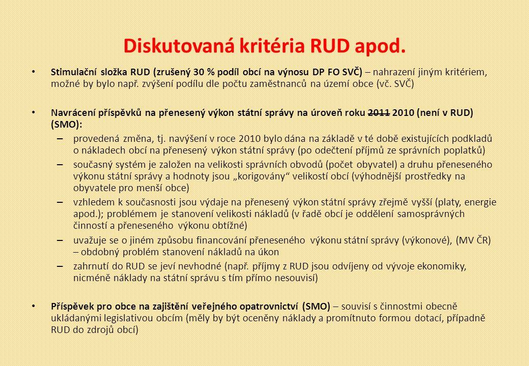 Diskutovaná kritéria RUD apod.
