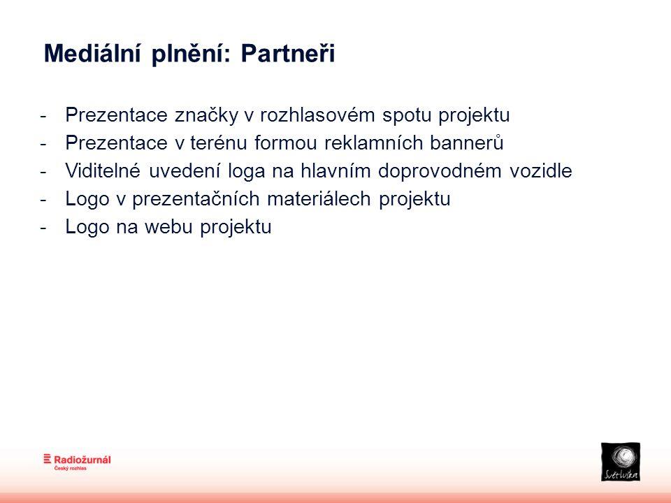 Mediální plnění: Partneři -Prezentace značky v rozhlasovém spotu projektu -Prezentace v terénu formou reklamních bannerů -Viditelné uvedení loga na hlavním doprovodném vozidle -Logo v prezentačních materiálech projektu -Logo na webu projektu