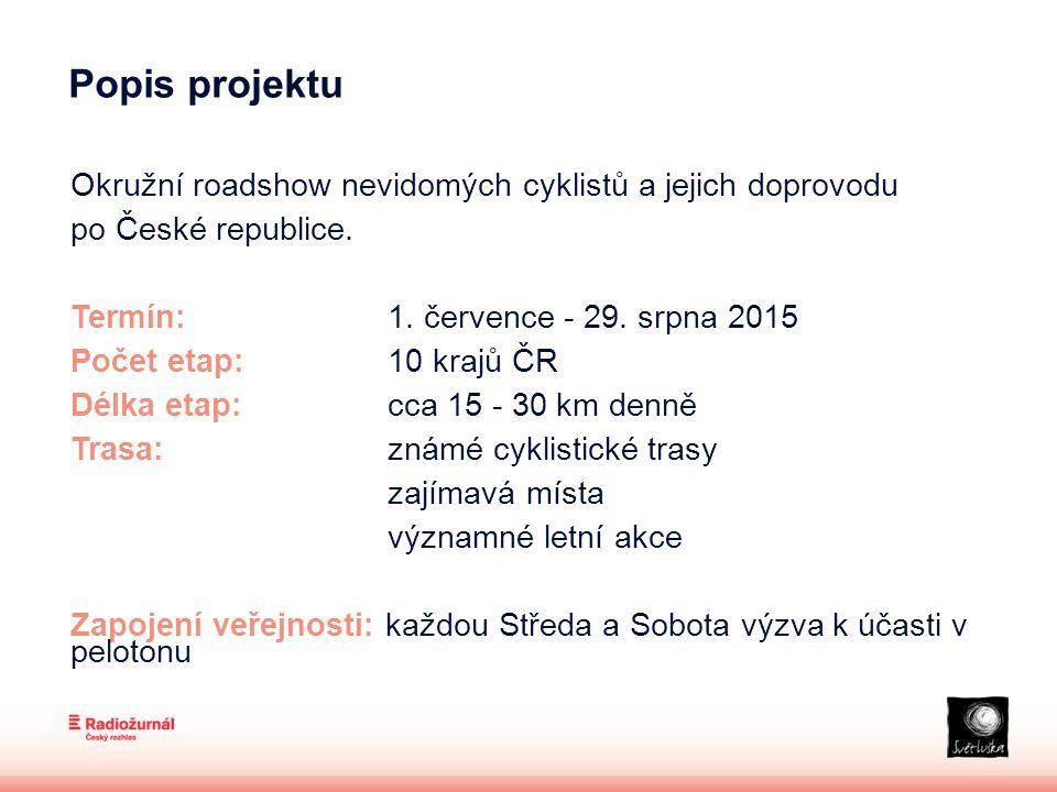 """Komunikační kanály -Český rozhlas Radiožurnál a regionální stanice -Plakáty -Samolepky -Reklamní placky s logem projektu -Web: www.jedemeprosvetlusku.cz, www.rozhlas.cz/jedemeprosvetlusku, www.svetluska.czwww.jedemeprosvetlusku.cz www.rozhlas.czwww.svetluska.cz -Aplikace """"Jedeme pro Světlušku - sdílení fotografií z cest -Sociální sítě Facebook, Twitter  svetluskajede, Instagram  svetluskajede -PR – regionální TV, tisk (deníky, týdeníky), online -Lokální propagace jednotlivých měst a obcí -Informační centra regionů"""