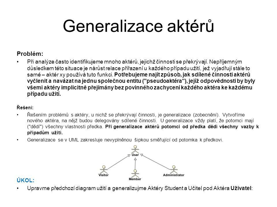 Generalizace aktérů Problém: Při analýze často identifikujeme mnoho aktérů, jejichž činnosti se překrývají. Nepříjemným důsledkem této situace je nárů