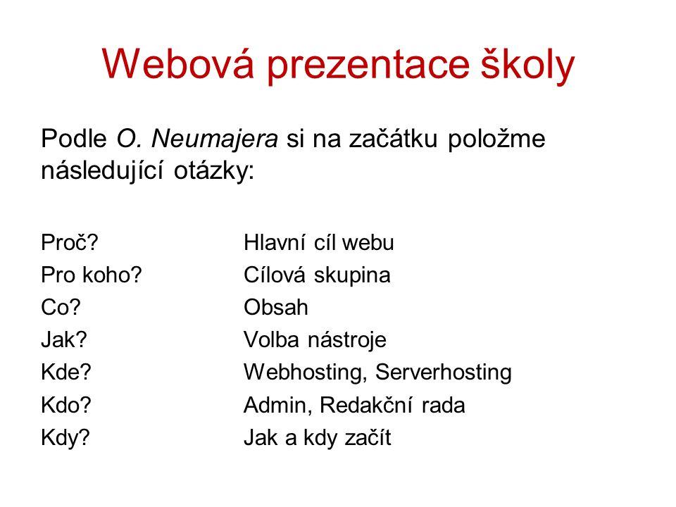 Webová prezentace školy Podle O. Neumajera si na začátku položme následující otázky: Proč?Hlavní cíl webu Pro koho?Cílová skupina Co?Obsah Jak?Volba n