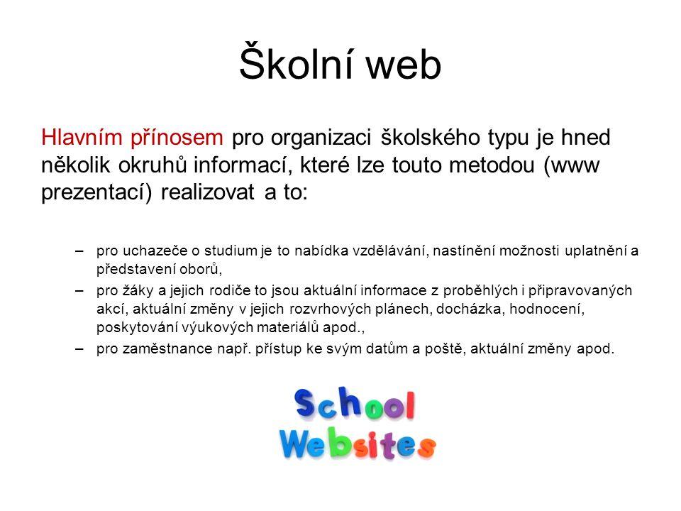 Školní web Hlavním přínosem pro organizaci školského typu je hned několik okruhů informací, které lze touto metodou (www prezentací) realizovat a to: