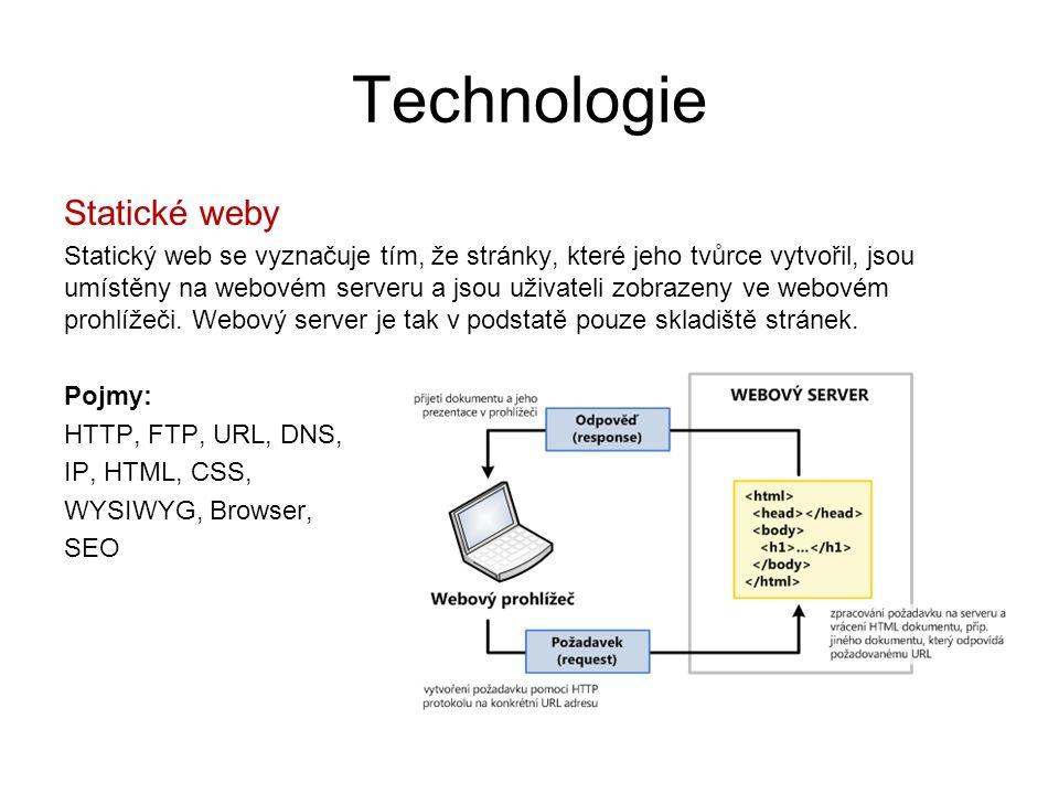 Technologie Statické weby Statický web se vyznačuje tím, že stránky, které jeho tvůrce vytvořil, jsou umístěny na webovém serveru a jsou uživateli zob