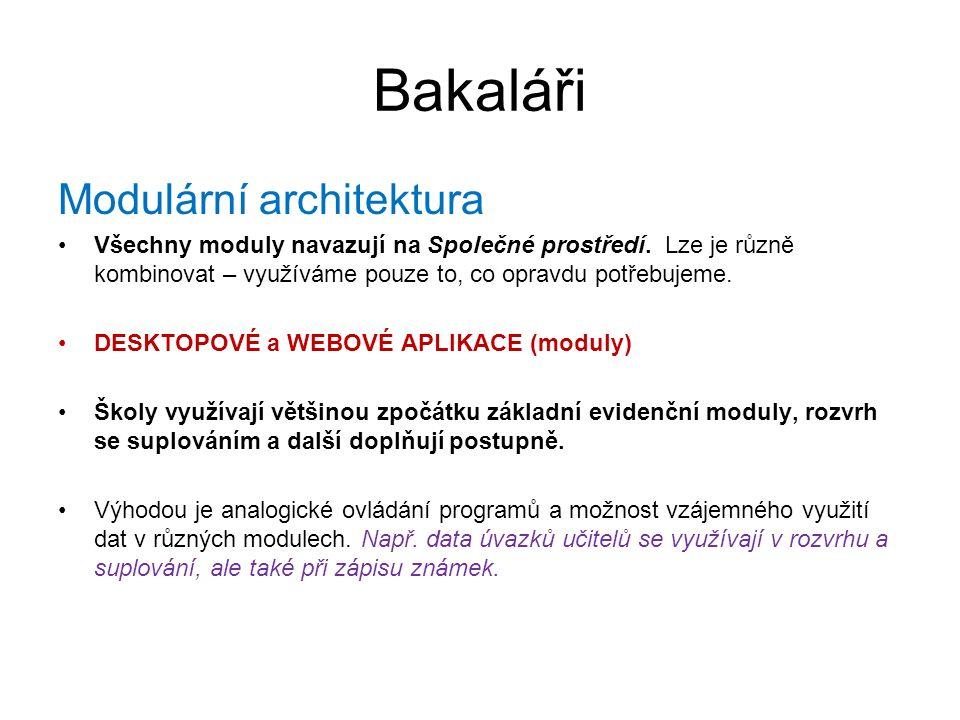Bakaláři Modulární architektura Všechny moduly navazují na Společné prostředí. Lze je různě kombinovat – využíváme pouze to, co opravdu potřebujeme. D
