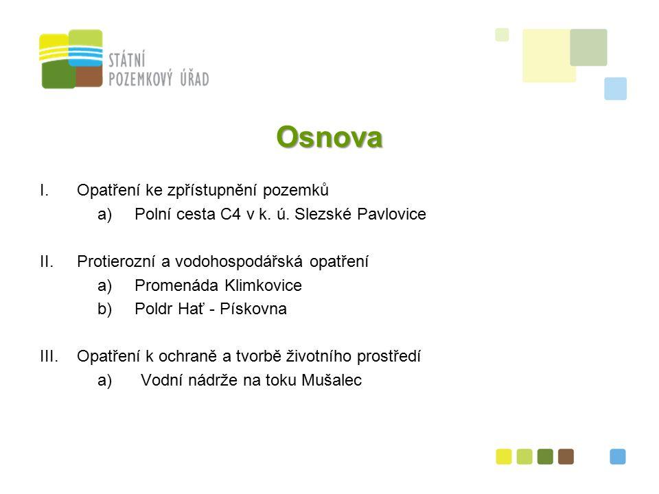 """13 II.(b) Údaje o stavbě """"Poldr Pískovna Katastrální území Hať, okr."""