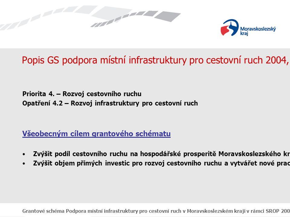 Grantové schéma Podpora místní infrastruktury pro cestovní ruch v Moravskoslezském kraji v rámci SROP 2004 - 2006 Popis GS podpora místní infrastruktury pro cestovní ruch 2004, 2005 a 2006 Priorita 4.