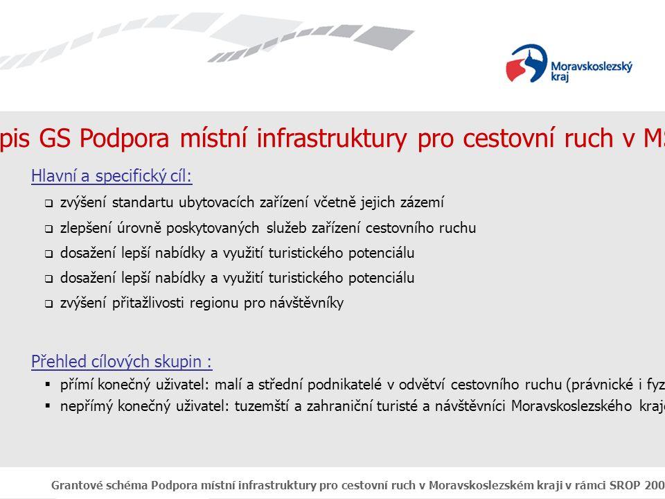 Grantové schéma Podpora místní infrastruktury pro cestovní ruch v Moravskoslezském kraji v rámci SROP 2004 - 2006 Popis GS Podpora místní infrastruktury pro cestovní ruch v MSK Hlavní a specifický cíl:  zvýšení standartu ubytovacích zařízení včetně jejich zázemí  zlepšení úrovně poskytovaných služeb zařízení cestovního ruchu  dosažení lepší nabídky a využití turistického potenciálu  zvýšení přitažlivosti regionu pro návštěvníky Přehled cílových skupin :  přímí konečný uživatel: malí a střední podnikatelé v odvětví cestovního ruchu (právnické i fyzické osoby)  nepřímý konečný uživatel: tuzemští a zahraniční turisté a návštěvníci Moravskoslezského kraje