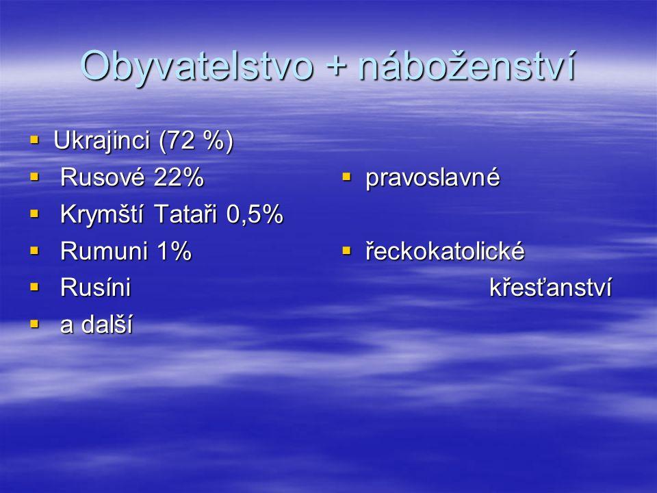 Obyvatelstvo + náboženství  Ukrajinci (72 %)  Rusové 22%  Krymští Tataři 0,5%  Rumuni 1%  Rusíni  a další  pravoslavné  řeckokatolické křesťan