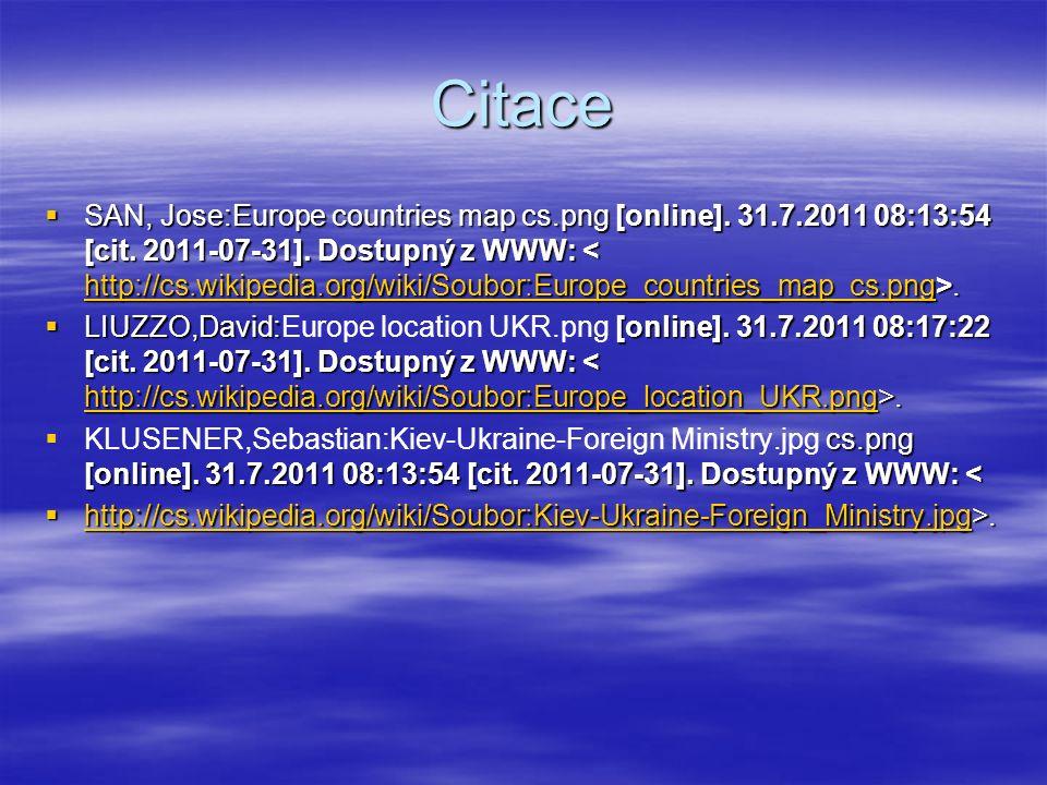 Citace  SAN, Jose:Europe countries map cs.png [online]. 31.7.2011 08:13:54 [cit. 2011-07-31]. Dostupný z WWW:. http://cs.wikipedia.org/wiki/Soubor:Eu