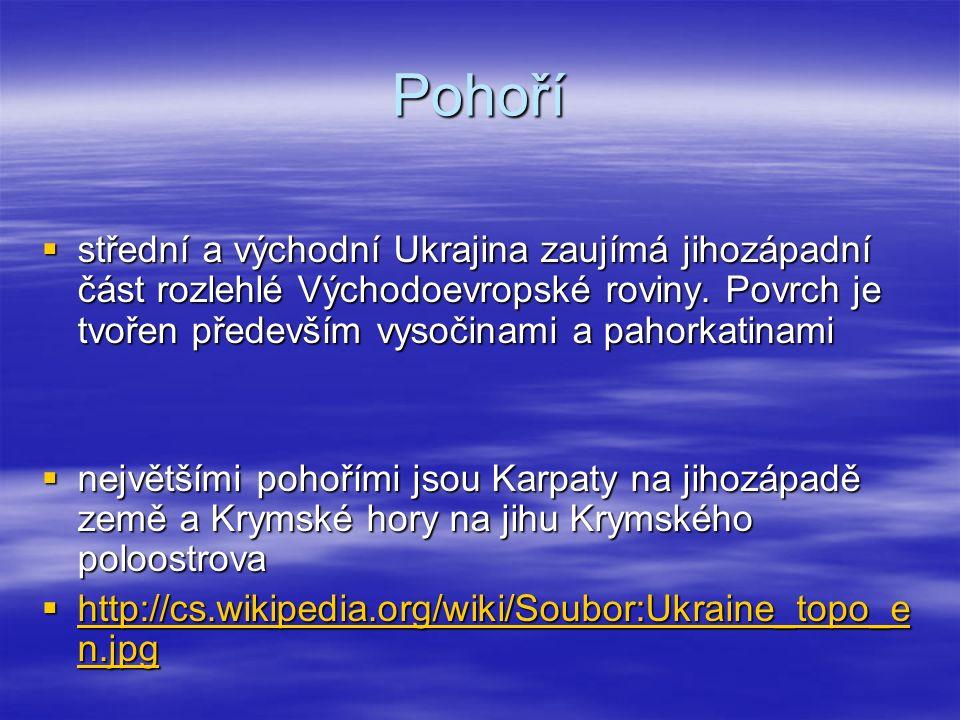 Pohoří  střední a východní Ukrajina zaujímá jihozápadní část rozlehlé Východoevropské roviny. Povrch je tvořen především vysočinami a pahorkatinami 