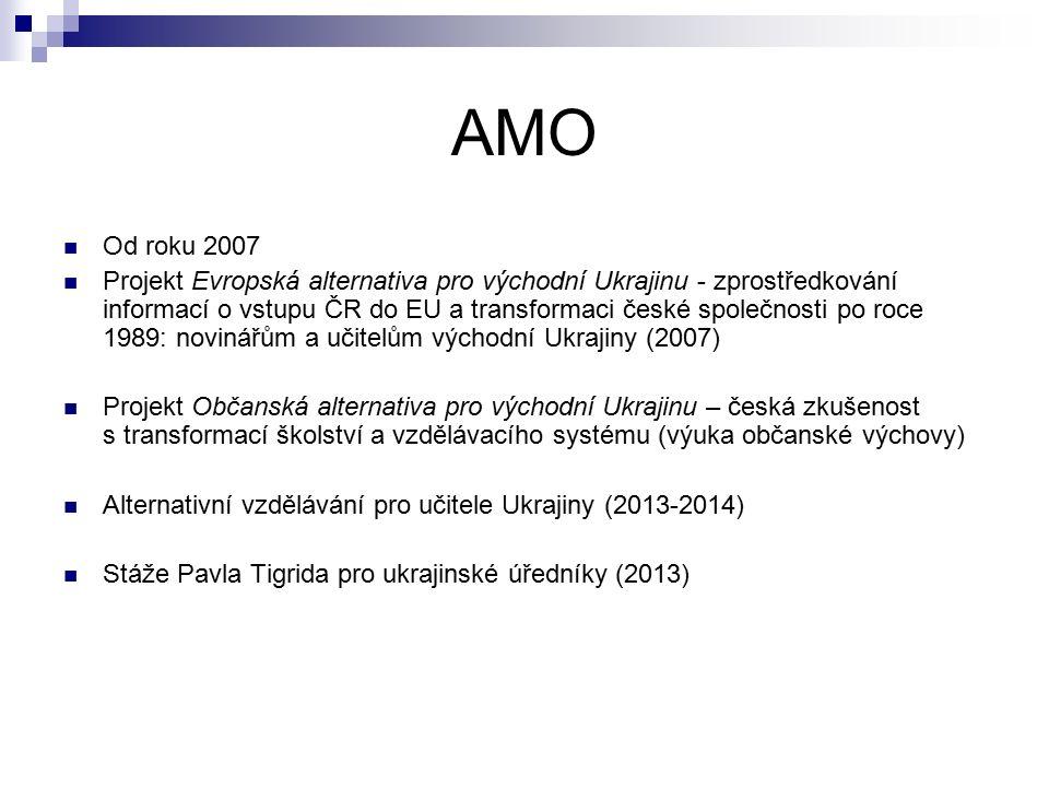 AMO Od roku 2007 Projekt Evropská alternativa pro východní Ukrajinu - zprostředkování informací o vstupu ČR do EU a transformaci české společnosti po