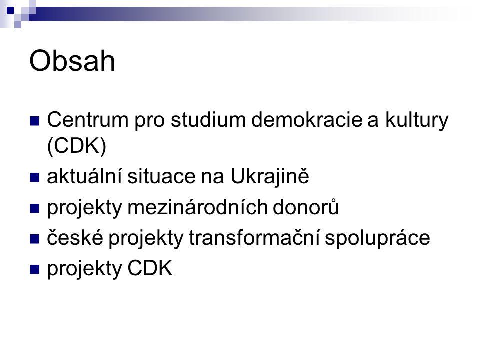 Obsah Centrum pro studium demokracie a kultury (CDK) aktuální situace na Ukrajině projekty mezinárodních donorů české projekty transformační spoluprác