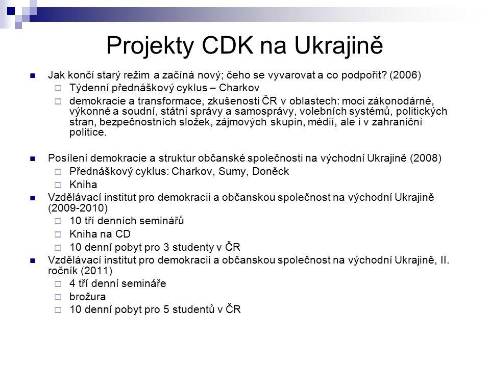 Projekty CDK na Ukrajině Jak končí starý režim a začíná nový; čeho se vyvarovat a co podpořit? (2006)  Týdenní přednáškový cyklus – Charkov  demokra