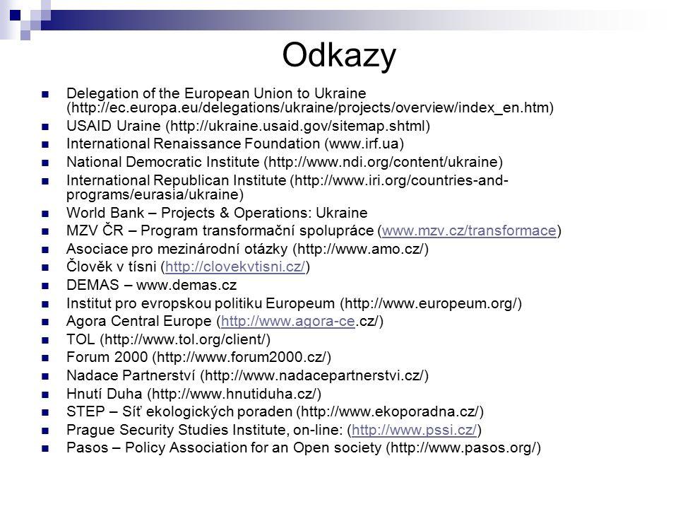 Odkazy Delegation of the European Union to Ukraine (http://ec.europa.eu/delegations/ukraine/projects/overview/index_en.htm) USAID Uraine (http://ukrai