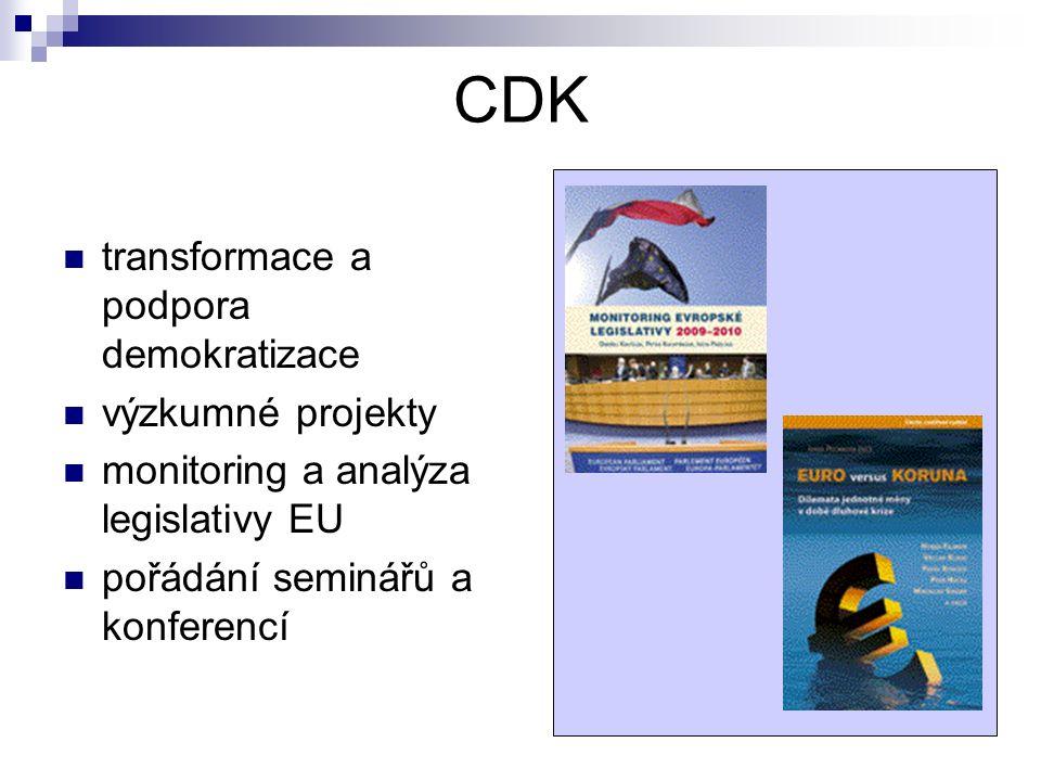CDK transformace a podpora demokratizace výzkumné projekty monitoring a analýza legislativy EU pořádání seminářů a konferencí