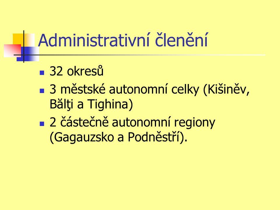 Administrativní členění 32 okresů 3 městské autonomní celky (Kišiněv, Bălţi a Tighina) 2 částečně autonomní regiony (Gagauzsko a Podněstří).