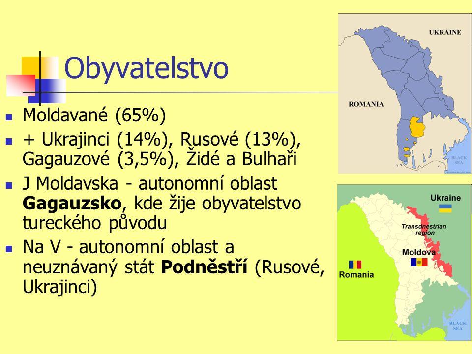 Obyvatelstvo Moldavané (65%) + Ukrajinci (14%), Rusové (13%), Gagauzové (3,5%), Židé a Bulhaři J Moldavska - autonomní oblast Gagauzsko, kde žije obyvatelstvo tureckého původu Na V - autonomní oblast a neuznávaný stát Podněstří (Rusové, Ukrajinci)