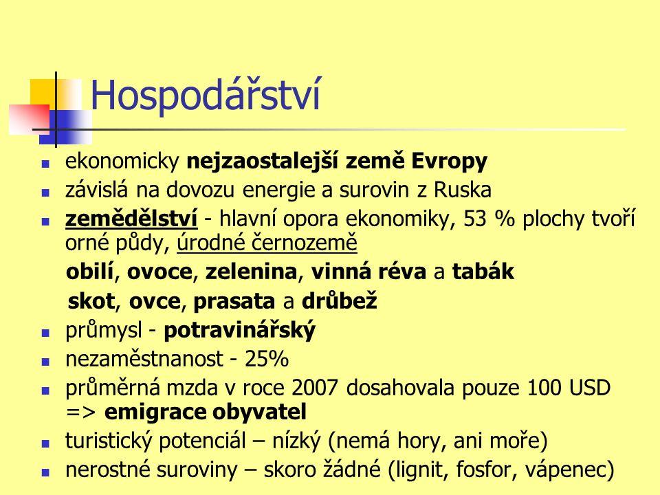 Hospodářství ekonomicky nejzaostalejší země Evropy závislá na dovozu energie a surovin z Ruska zemědělství - hlavní opora ekonomiky, 53 % plochy tvoří orné půdy, úrodné černozemě obilí, ovoce, zelenina, vinná réva a tabák skot, ovce, prasata a drůbež průmysl - potravinářský nezaměstnanost - 25% průměrná mzda v roce 2007 dosahovala pouze 100 USD => emigrace obyvatel turistický potenciál – nízký (nemá hory, ani moře) nerostné suroviny – skoro žádné (lignit, fosfor, vápenec)