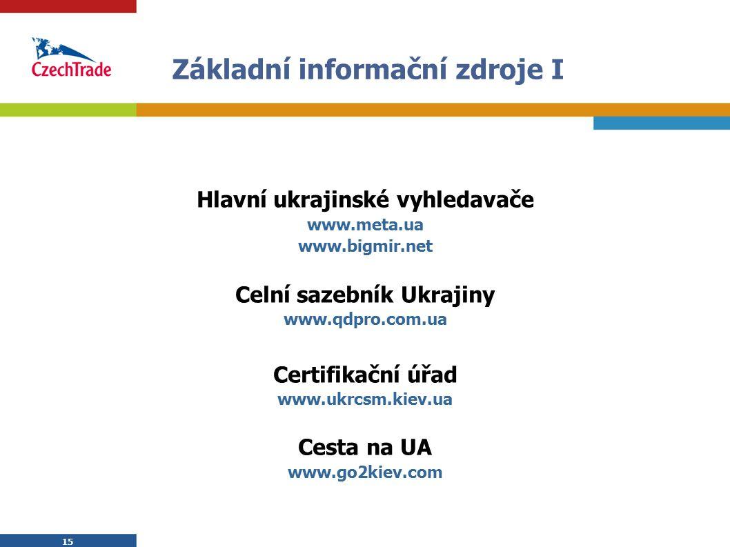 15 Základní informační zdroje I Hlavní ukrajinské vyhledavače www.meta.ua www.bigmir.net Celní sazebník Ukrajiny www.qdpro.com.ua Certifikační úřad ww