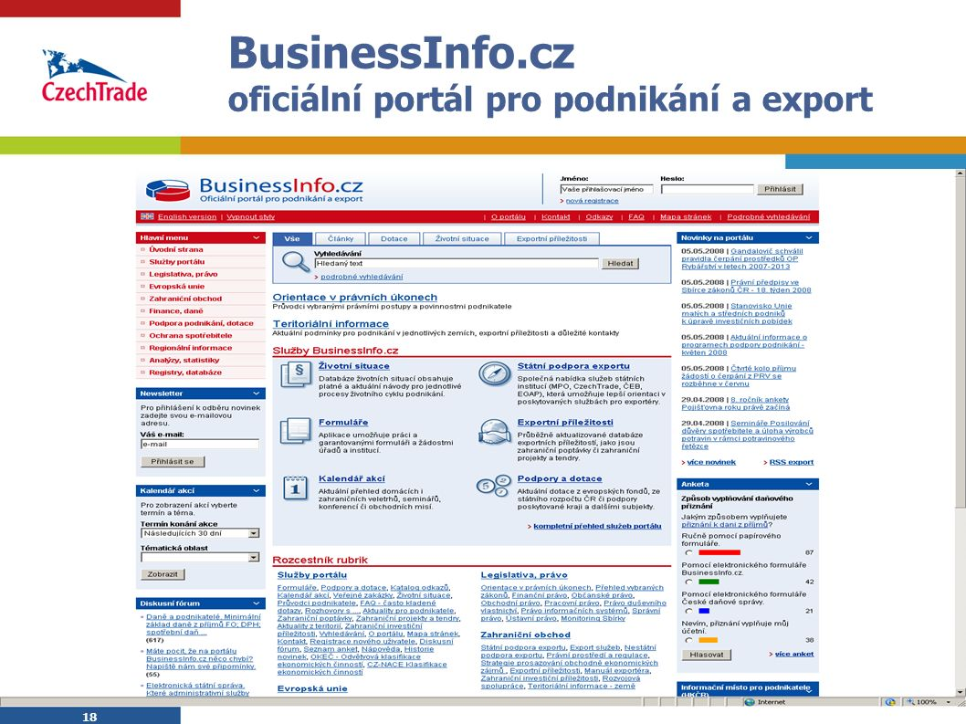 18 BusinessInfo.cz oficiální portál pro podnikání a export