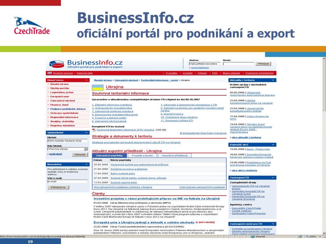19 BusinessInfo.cz oficiální portál pro podnikání a export