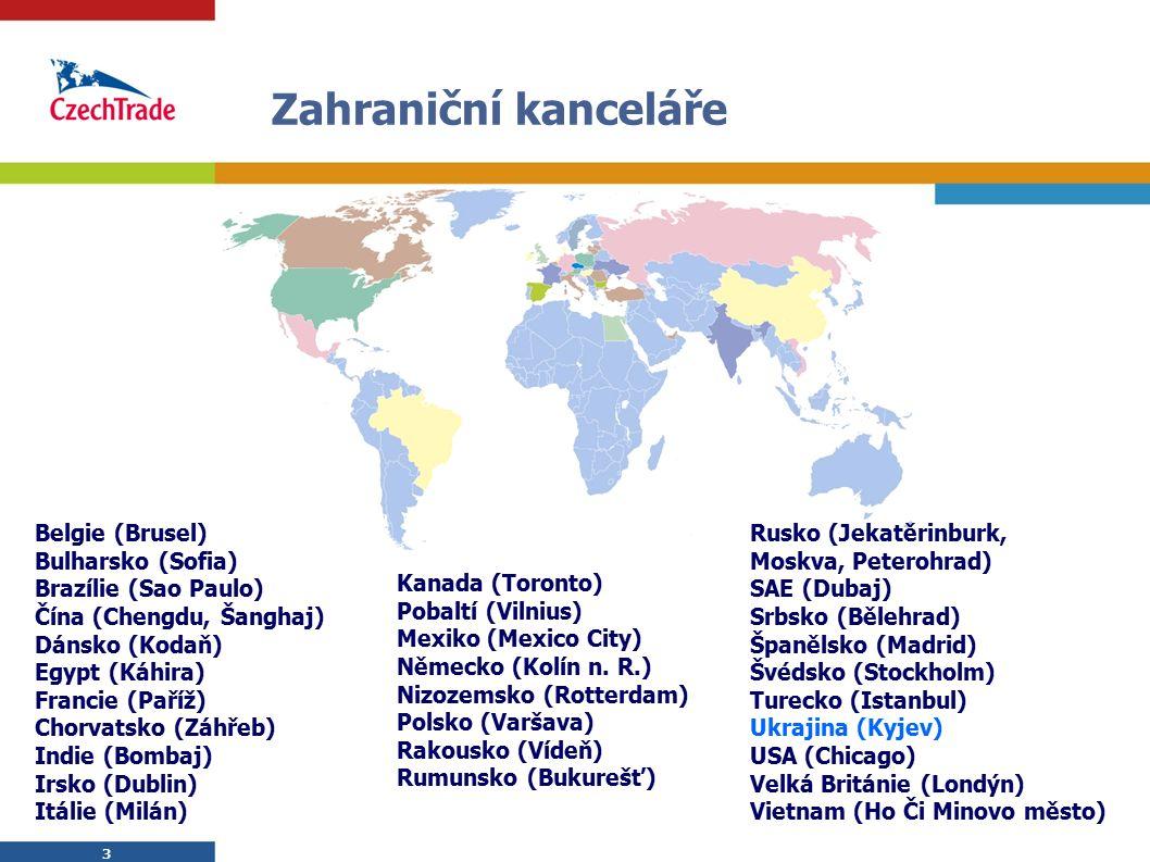 3 3 Zahraniční kanceláře Belgie (Brusel) Bulharsko (Sofia) Brazílie (Sao Paulo) Čína (Chengdu, Šanghaj) Dánsko (Kodaň) Egypt (Káhira) Francie (Paříž)