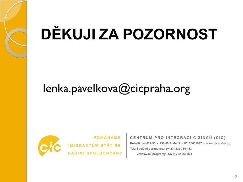 DĚKUJI ZA POZORNOST lenka.pavelkova@cicpraha.org 10