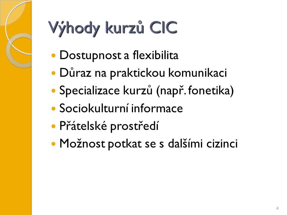 Výhody kurzů CIC Dostupnost a flexibilita Důraz na praktickou komunikaci Specializace kurzů (např.