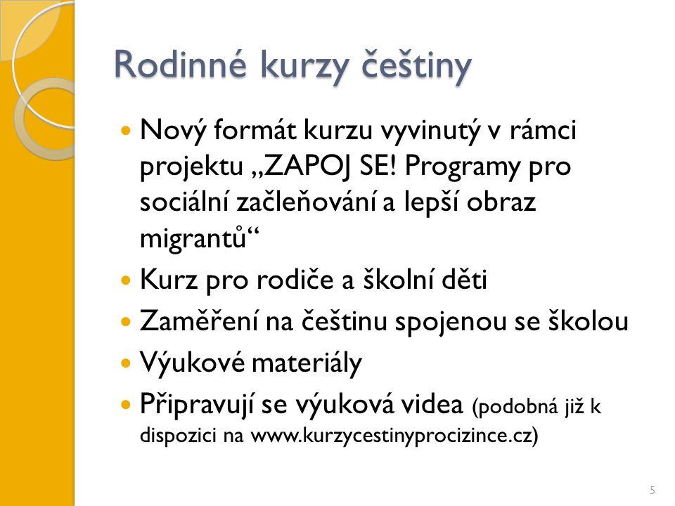 """Rodinné kurzy češtiny Nový formát kurzu vyvinutý v rámci projektu """"ZAPOJ SE."""